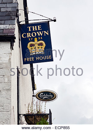 the crown public house pub in longtown between abergavenny and herefordshire - Stock Photo