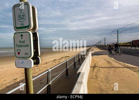 Coastal tram,  travels along the entire 70 km of the Belgian coast, - Stock Photo