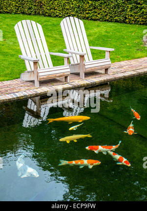 Koi carp fish in pond stock photo royalty free image for Koi pool water gardens poulton