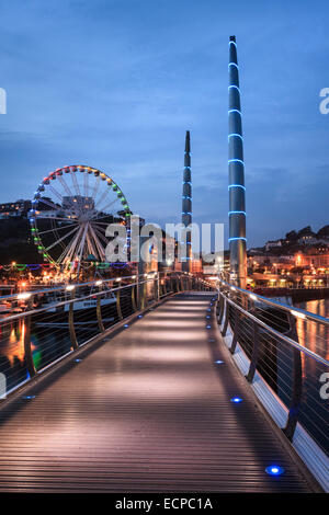 The Millennium Bridge in Torquay Harbour - Stock Photo