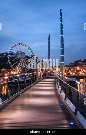 The Millennium Bridge in Torquay Harbour - Stock Photo