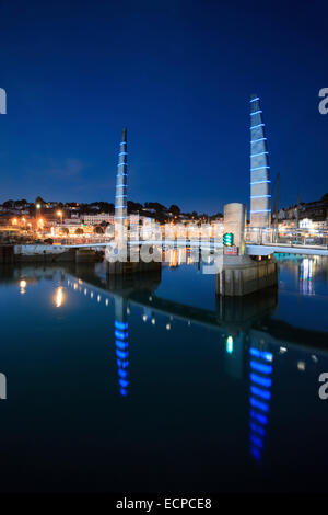 The Millennium Bridge in Torquay Harbour. - Stock Photo