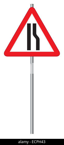 A triangular road narrows sign on a pole isolated on a white background - Stock Photo