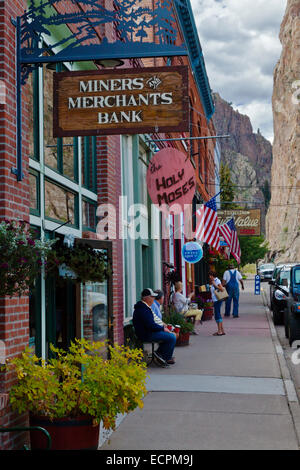 Shops on the main street of CREEDE COLORADO, a silver mining town dating back to the mid 1800's which is now a tourist - Stock Photo