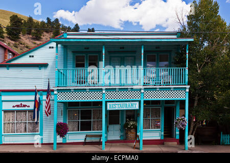 A RESTAURANT on the main street of CREEDE COLORADO, a silver mining town dating back to the mid 1800's which is - Stock Photo