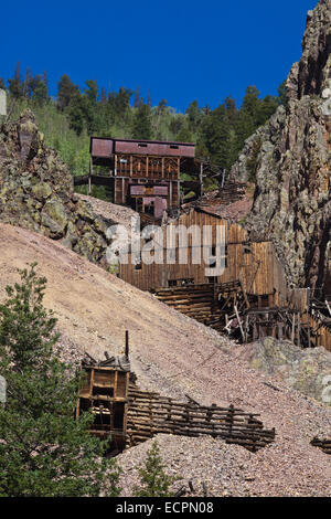 The BACHELOR MINE in CREEDE COLORADO where silver was mined until 1985 - Stock Photo