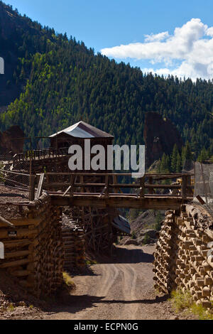 The COMMODORE MINE in CREEDE COLORADO was active until 1985 - Stock Photo