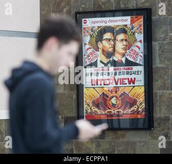 Los Angeles, California, USA. 17th Dec, 2014. Poster for movie ''The Interview'' is seen at the AMC Glendora 12 - Stock Photo