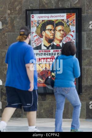 Los Angeles, California, USA. 17th Dec, 2014. Poster for movie ''The Interview'' is seen at AMC Glendora 12 movie - Stock Photo