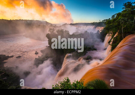 Iguazu Falls are waterfalls of the Iguazu River on the border between Argentina and Brazil - Stock Photo