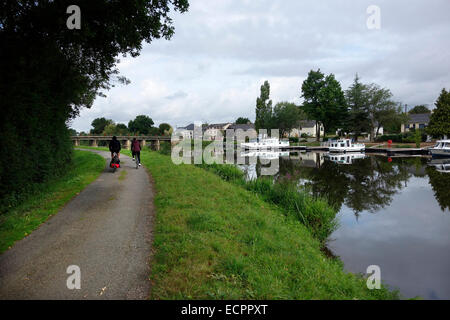 St Martin on the Nantes Brest Canal cycling - Stock Photo