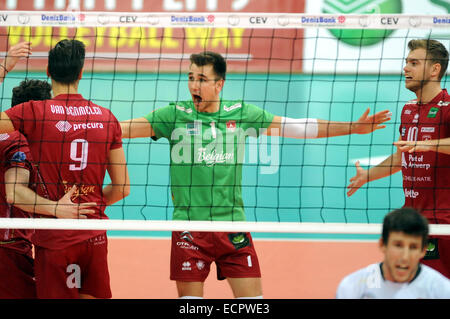Dennis Deroey (center) of Precura is seen during the Men's Volleyball Champions League, 4th round, F group match - Stock Photo