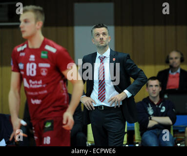 Kris Tanghe, couch of Precura Team is seen during the Men's Volleyball Champions League, 4th round, F group match - Stock Photo