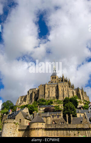 Mont-Saint-Michel, Benedictine abbey, Normandy, France, Europe - Stock Photo