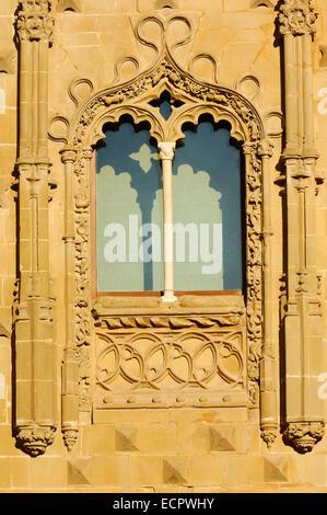Facade detail of the Jabalquinto Palace, 16th century, Baeza, Jaén province, Andalusia, Spain, Europa - Stock Photo