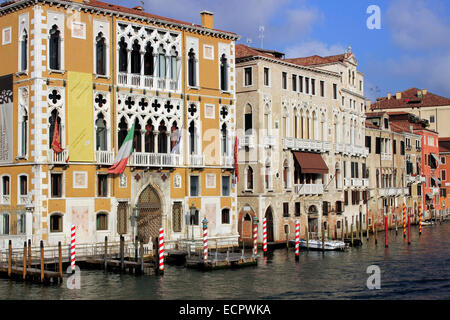 Buildings on the Grand Canal, from Accademia Bridge,, Venice, Veneto, Italy - Stock Photo