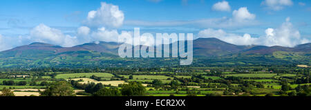 Panorama of the Galtee Mountains from the south, County Tipperary, Ireland. - Stock Photo