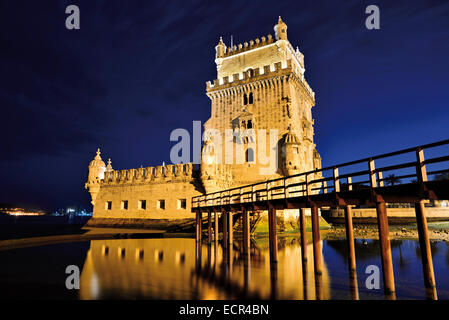 Portugal, Lisbon: Tower of Belém by night - Stock Photo