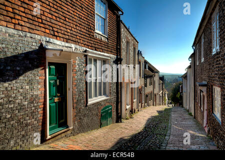 The View Down Keere Street Towards The South Downs, Lewes, Sussex, England - Stock Photo