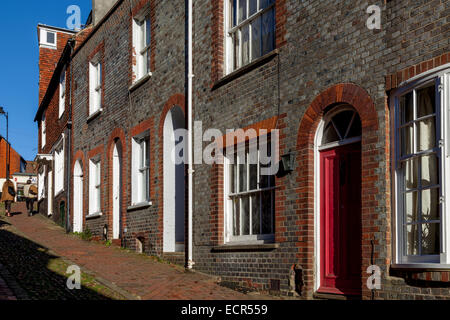 A View Looking Up Historic Keere Street, Lewes, Sussex, England - Stock Photo
