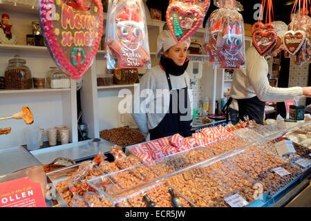 Sweet stall at the German Christmas Market, Edinburgh - Stock Photo