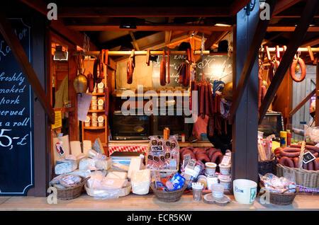 Germand food stall at the Edinburgh Christmas Market - Stock Photo