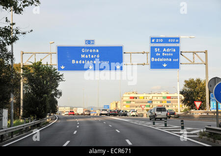 Spanish Highway Photographed in Barcelona Catalonia, Spain - Stock Photo