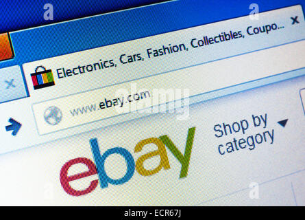 Ebay.com homepage on the computer screen. Editorial use only - Stock Photo