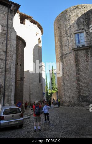 Girona, Historic centre, Catalonia, Spain - Stock Photo