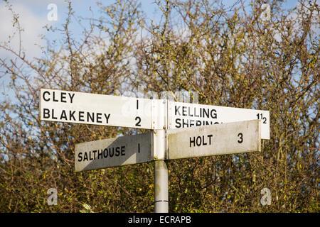 A roadsign on Kelling heath near cley on the North Norfolk coast, UK. - Stock Photo