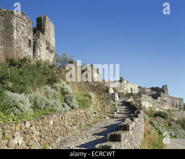 Syria. Margat (Marqab). Castle Qalaat al-Marqab (Castle of the Watchtower). Crusader fortrees and one of the major - Stock Photo