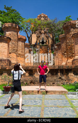 Po Nagar is a Cham temple tower located in the medieval principality of Kauthara near Nha Trang, Vietnam. - Stock Photo