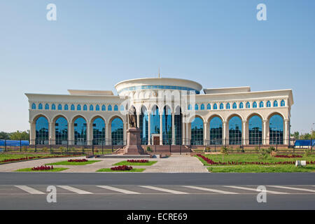 The Kazakhstan Embassy building and monument to the national poet Abay in Tashkent, Uzbekistan - Stock Photo