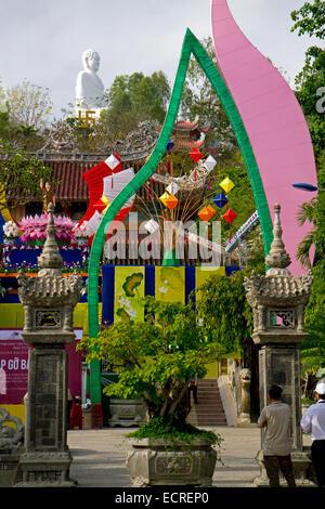 Long Son Buddhist Temple in Nha Trang, Vietnam. - Stock Photo