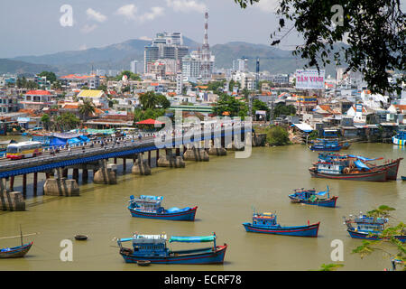 Port with fishing boats at Nha Trang, Vietnam. - Stock Photo
