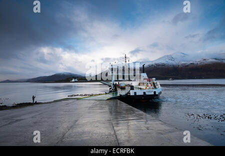 The Corran Ferry crossing Loch Linnhe near Fort William in Scotland, UK - Stock Photo