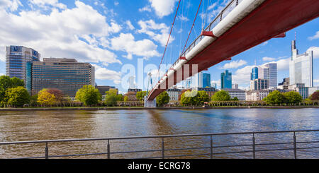 HOLBEINSTEIG FOOTBRIDGE, MAIN RIVER, SKYSCRAPERS, BANK, BANK BUILDINGS, FINANCIAL DISTRICT, FRANKFURT, HESSE, GERMANY - Stock Photo