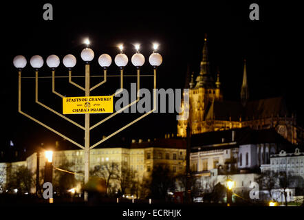 Prague, Czech Republic. 18th Dec, 2014. The first candle was lit at the candlestick to start the Jewish holiday - Stock Photo