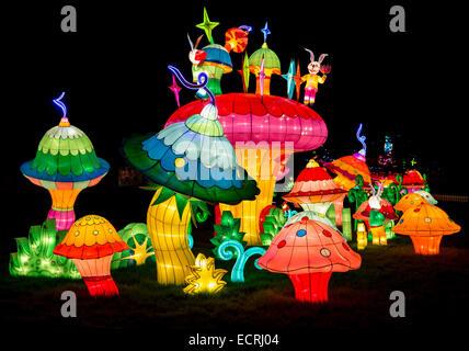 Longleat Festival of Light, Chinese Lion Lanterns Display at Longleat House & Safari Park , Wiltshire, UK - Stock Photo