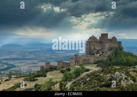Heavy skies over Loarre castle, Aragon, Spain. - Stock Photo