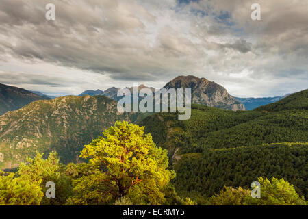 Autumn afternoon in the Pyrenees mountains near Tella, Huesca, Aragón, Spain. - Stock Photo