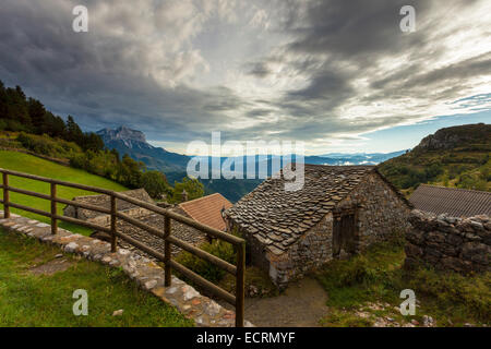 The village of Tella in the Pyrenees mountains near Tella, Huesca, Aragón, Spain. - Stock Photo