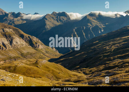 Morning in Ordiso valley. Pyrenees mountains near Torla, Spain. - Stock Photo