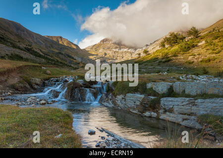 Autumn afternoon in the Pyrenees mountains, Spain. Aísa valley. - Stock Photo