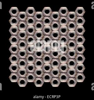 Composition from Nut Screw of one size on a black background. - Stock Photo