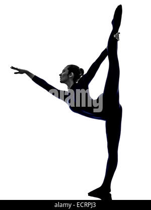 yoga pose woman to do the splits silhouette vector
