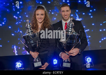 Budapest, Hungary. 18th Dec, 2014. Hungarian Sportswoman of the Year 2014 Katinka Hosszu (L) and Sportsman of the - Stock Photo