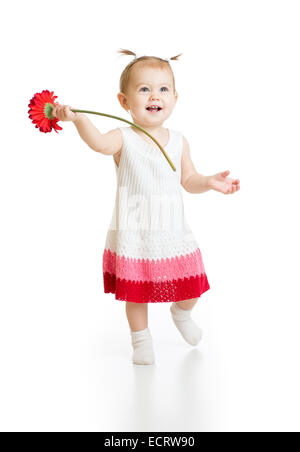 Baby girl with flower isolated on white - Stock Photo