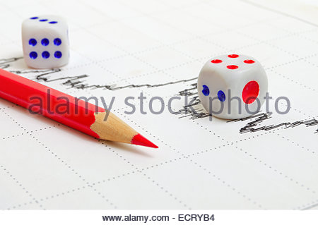 Downward trend and negative dynamics on the stock chart. - Stock Photo