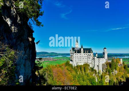 Germany  Bavaria  Allgaeu  Fuessen  Neuschwanstein Castle - Stock Photo